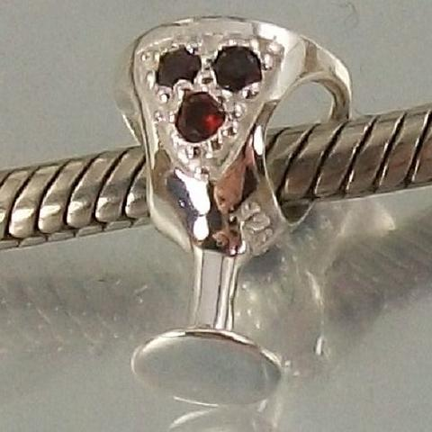 Sterling Silver and red CZ Wine Glass European Charm Bead