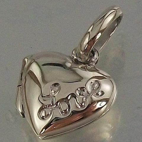 Sterling Silver 925 small cute Love Heart hinged Locket Pendant
