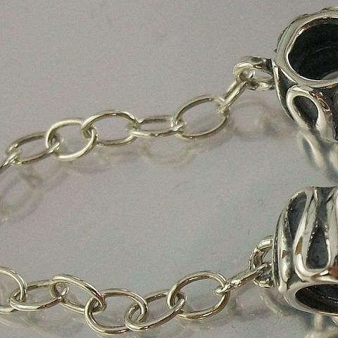 Sterling Silver 925 threaded screw on Safety Chain oxidised