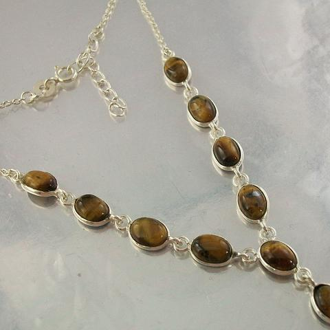 Sterling Silver and Tiger Eye Necklace and Earrings Set
