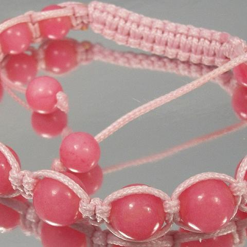 Pink Cord Macrame Bracelet with pink Stone Beads