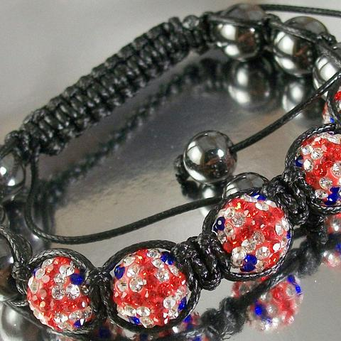 Black Cord Macrame Bracelet with Hematite Beads and British Flag patterned Disco Ball Beads