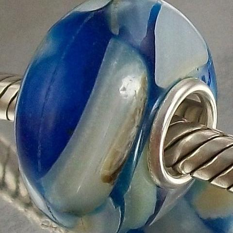 Shell and Resin Charm Bead in blue tones with 925 Sterling Silver Core
