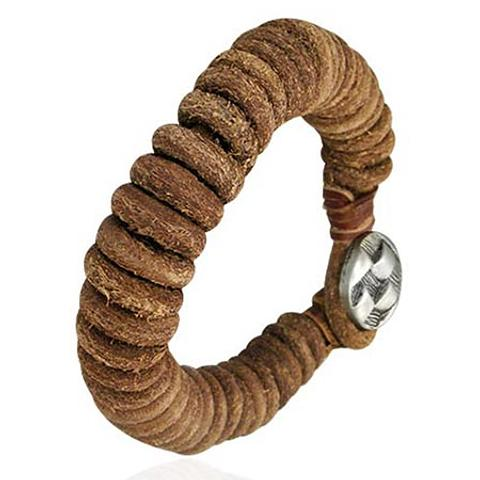 Leather Tribal Bracelet with Button Closure 20.5cm