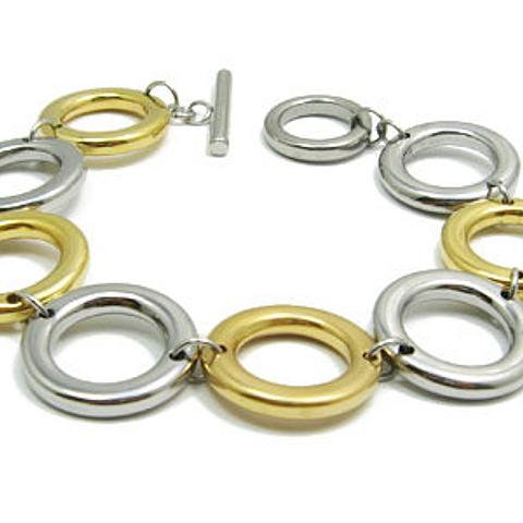 Stainless Steel hypoallergenic two tone Bracelet 19cm with Toggle