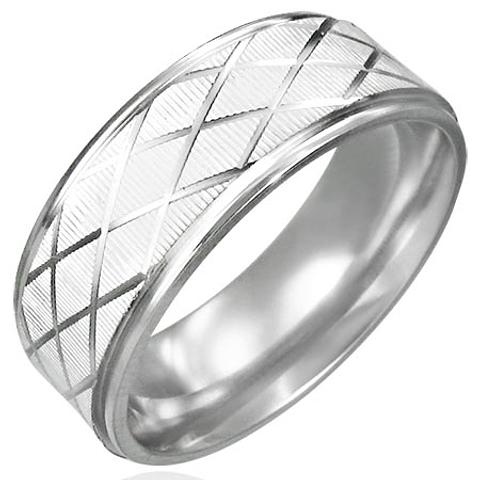 Stainless Steel 316L Grade Criss Cross Design Ring US Size10