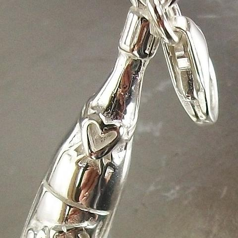 Sterling Silver Clip On Party Bottle Charm Pendant